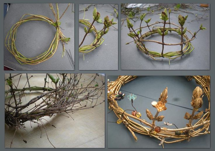 DIY crown inspiration. I started with creating an ivy wreath (what a difficult word by the way wreath is, impossible to remember). Then I add some twigs with buds (all connected with garden wire). Another ivy circle to make it stable and some stems on the side. Finally, spray it gold and add some odd beads.