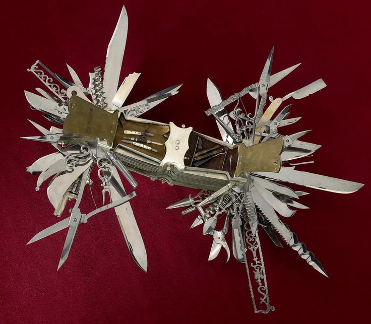 This absurd swiss army-type knife was made around 1880 and has 100 functions including shears, an auger, cigar cutter, pens, straight razor and piano tuner.   And YES, that is a fully functioning .22 caliber five-shot pinfire revolver