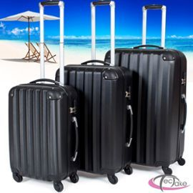 Set De 3 Valises Trolley Rigides Abs Polycarbonate 4 Roues Tectake Noir (Xl, L, M)
