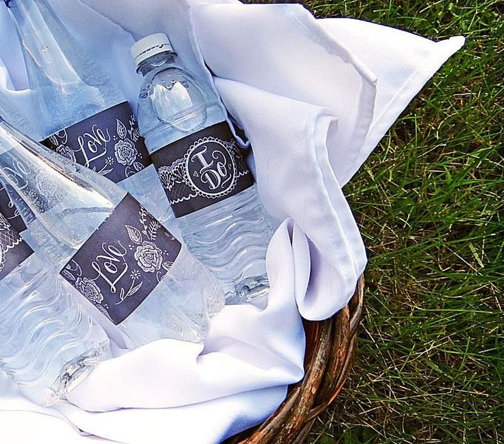 Print Your Own Water Bottle Labels with These 5 Free Sets of Designs: Wedding Rustic Chalk Art Water Bottle Labels at WorldLabel