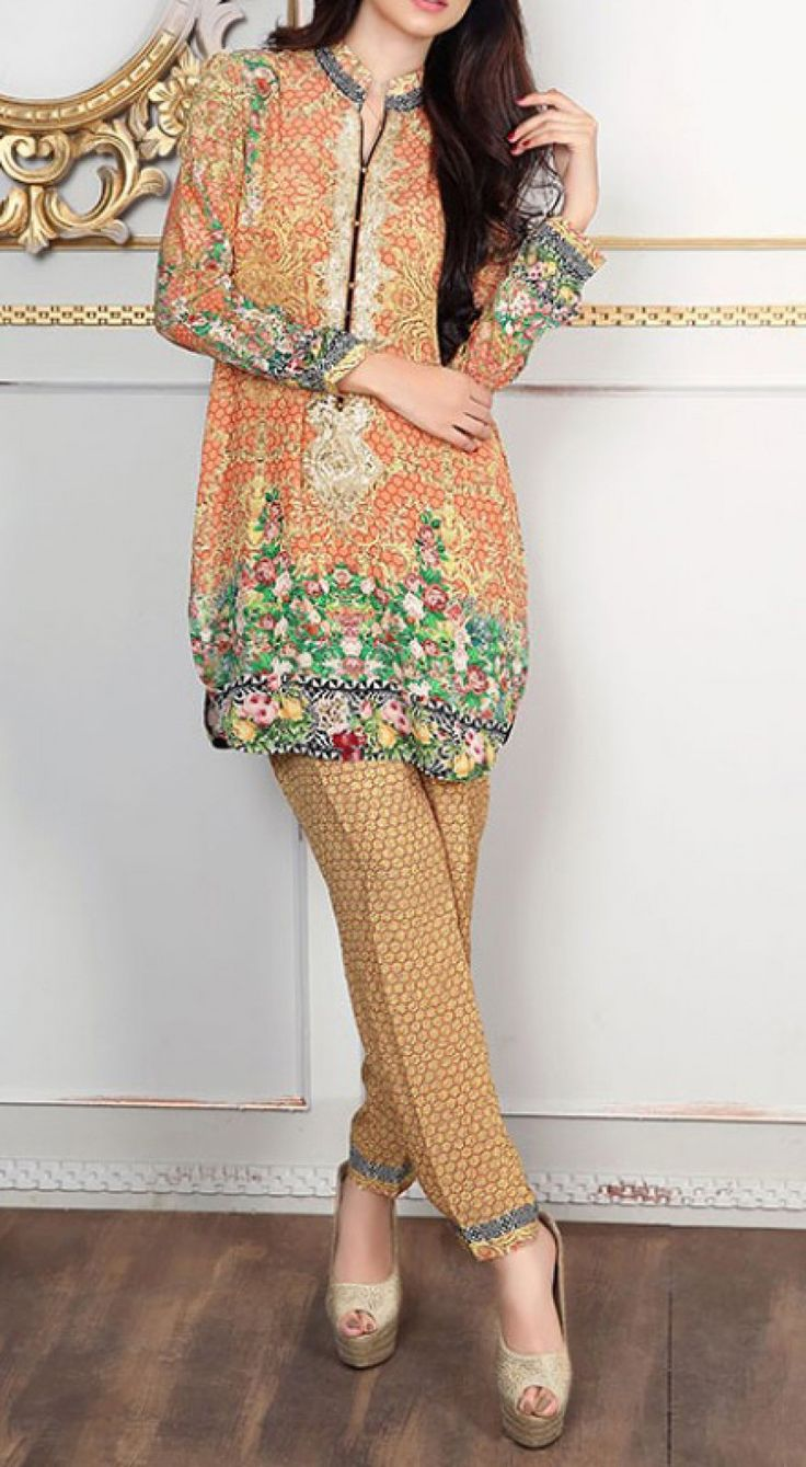 Peach/Beige Embroidered Grip Dress (2pc) Contact: (702) 751-3523  Email: info@pakrobe.com  Skype: PakRobe