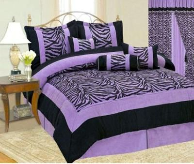Teen Girl Black and Purple Zebra Print Bedding Set - Comforter, Bedroom Curtains and More!