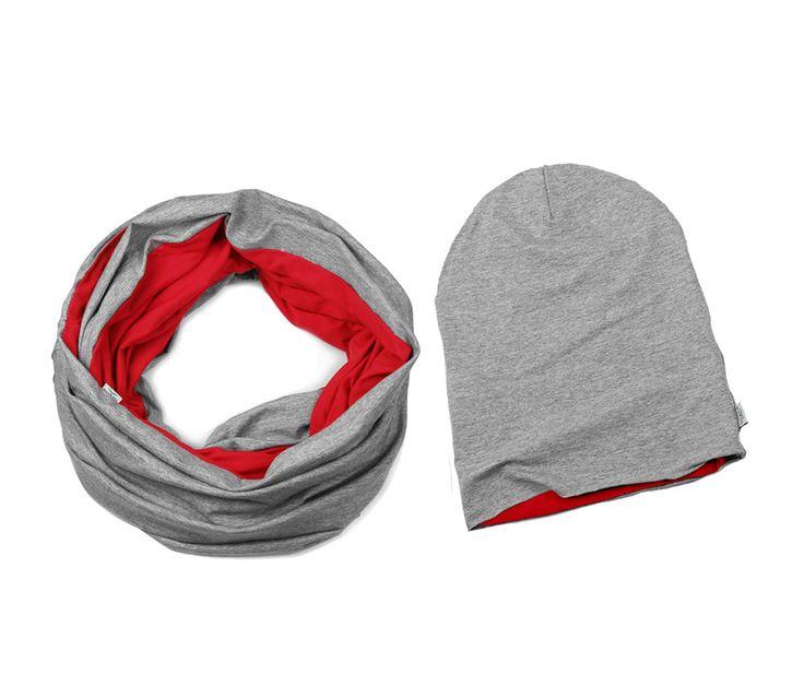 ZESTAW CZAPKA I KOMIN RED #tubescarve #red zestaw dwukolorowy komin plus czapka dzianina wiskoza #winterloop