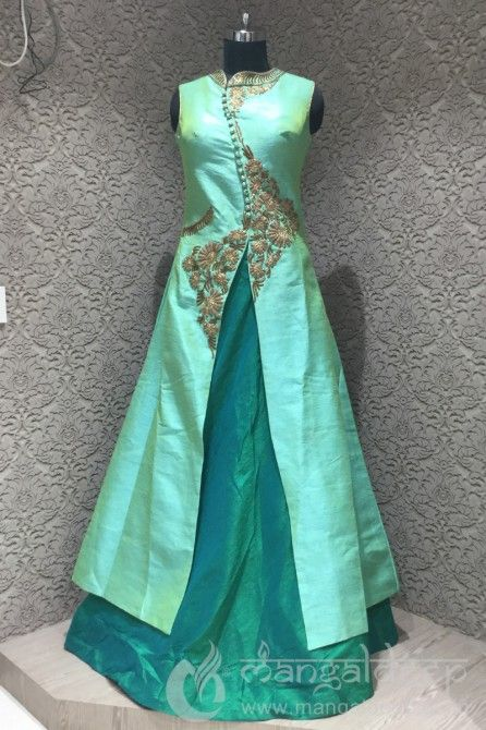 Turquoise Raw Silk Antique Work Readymade Indowetsern Suit. For more information :- Call us @+919377222211 (Whatsapp Available)
