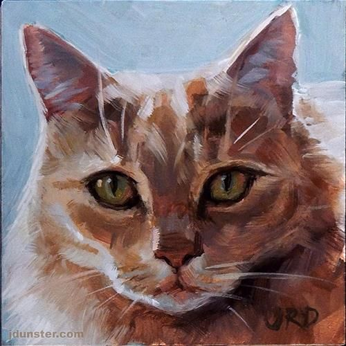 "Daily Paintworks - ""Fluffy and Orange - Cat Head"" - Original Fine Art for Sale - © J. Dunster"