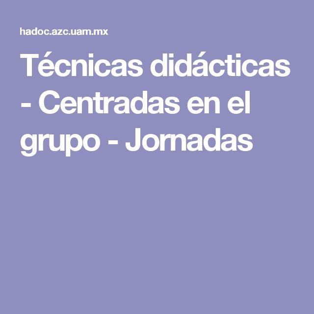 Técnicas didácticas - Centradas en el grupo - Jornadas