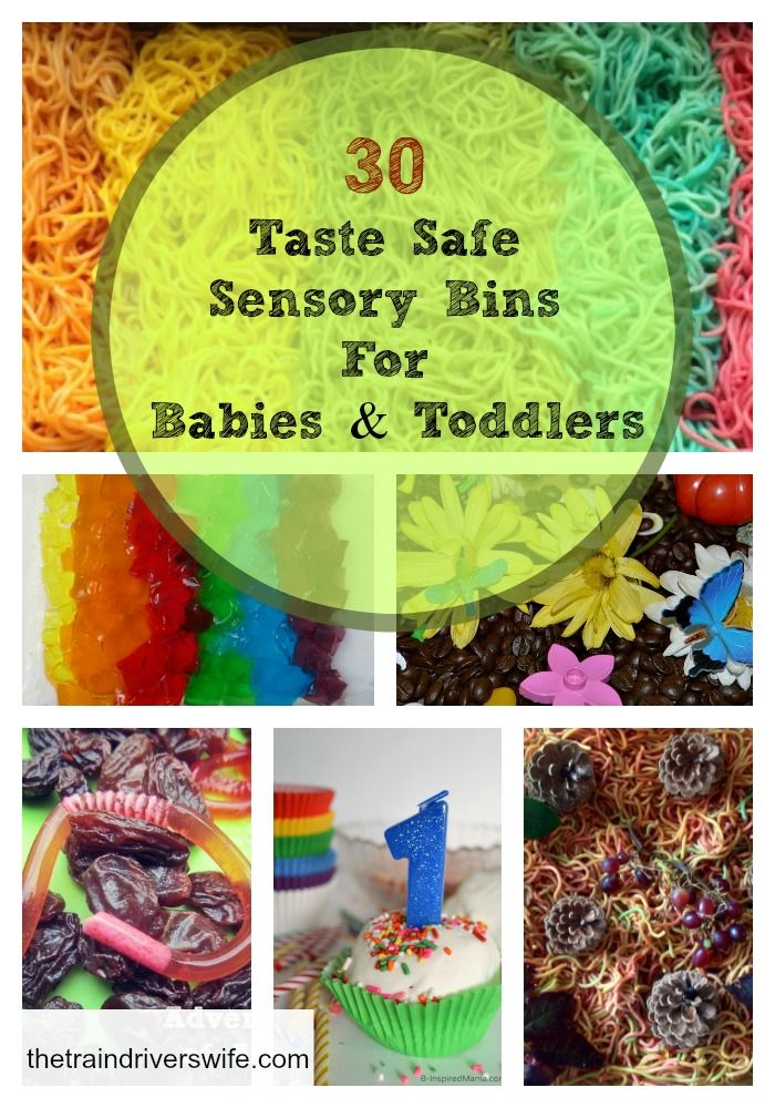 30 Taste Safe Sensory Bins for Babies and Toddlers Sensory bins can be used to teach textures, seasons, colours, numbers…. the possibilities are endless. Enjoy this list of 30 Baby and Toddler Safe sensory bins