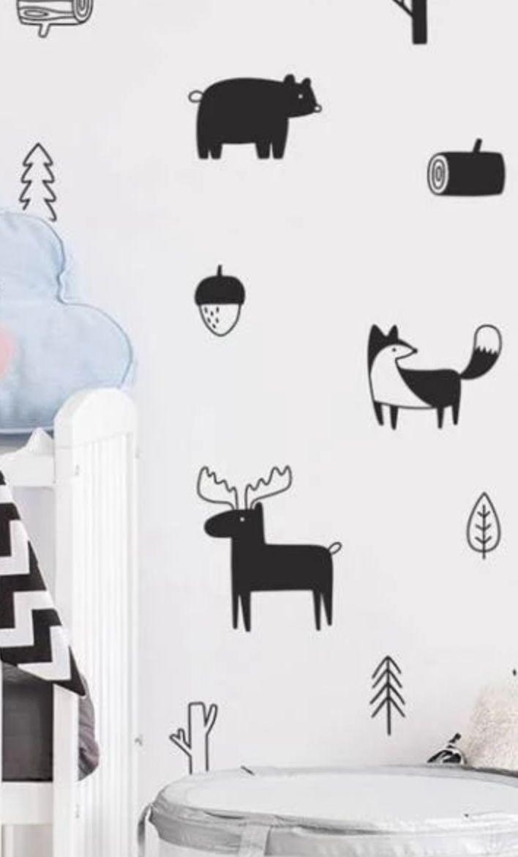Ces stickers muraux animaux de la forêt scandinave sont trop craquants !  Cette…