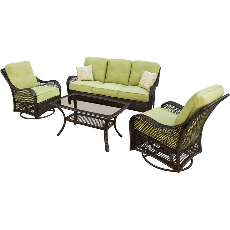 Hanover ORLEANS4PCSW Orleans 4-Piece Outdoor Lounging Set, Includes Sofa, 2 Swivel-Gliders and 43 by 26-Inch Coffee Table. Outdoor wicker set includes sofa, two swivel-glider chairs and glass-top coffee table. Cushions and throw pillows are quick-drying, stain-resistant, UV protected and maintain their original shape. Rust-resistant durable steel frames. Frames covered with weather-resistant, UV protected, traditional hand-woven 100% vinyl wicker. Two-level vinyl wicker coffee table…