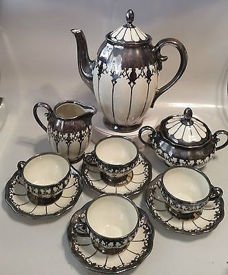 Pinterest: @MagicAndCats ☾ KOENIGSZELT TEA SET - TEA POT, CREAMER, SUGAR, 4 CUPS & SAUCERS - GERMANY