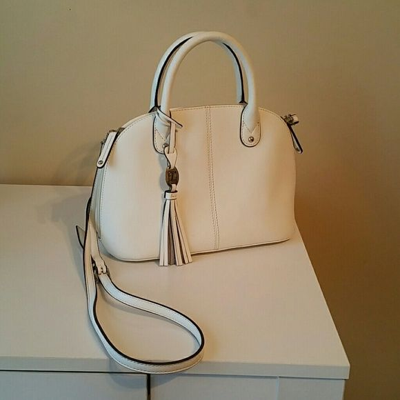 Tignanello Handbag White mini dome satchel, just in time for Spring! Barely used, excellent  condition.  Tignanello has great quality leather handbags that wear forever!♡ Tignanello Bags Satchels