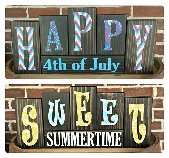 Summer|4th of July Letter Blocks | Rustic Wooden Letter Blocks | Reversible Holiday Decor | Reversible Blocks | Seasonal Decor | July 4th