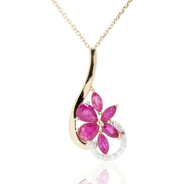 Collier Or 750 - Fleur Rubis & Diamants