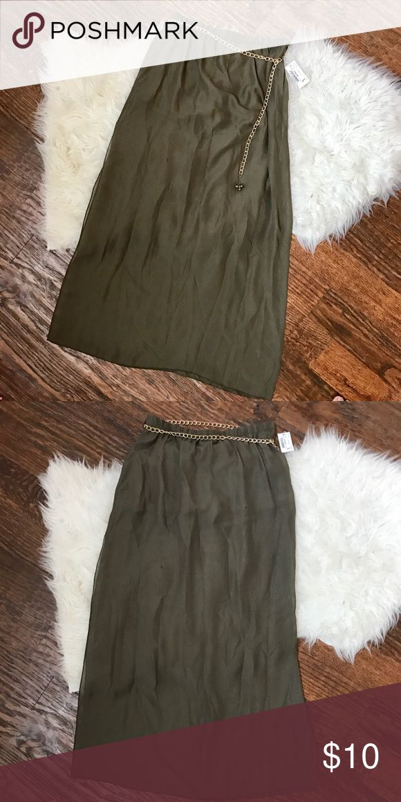 Olive maxi with chain Olive maxi skirt with chain belt, never worn. L but fits like M. NWT. Skirts Maxi