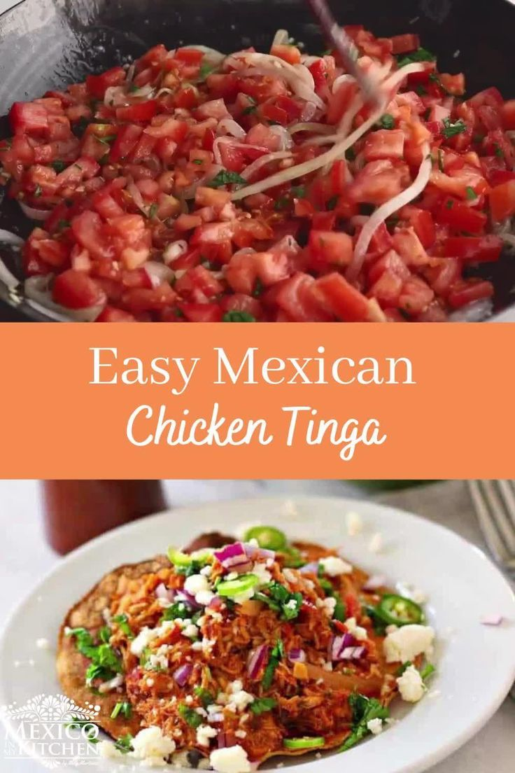 This is the most popular version of Chicken Tinga all over Mexico, with the right ingredients and amazingly tasty. Mexican Potluck, Real Mexican Food, Potluck Dinner, Mexican Tinga Recipe, Mexican Chicken Recipes, Authentic Mexican Recipes, Kitchen Recipes, New Recipes, Healthy Recipes