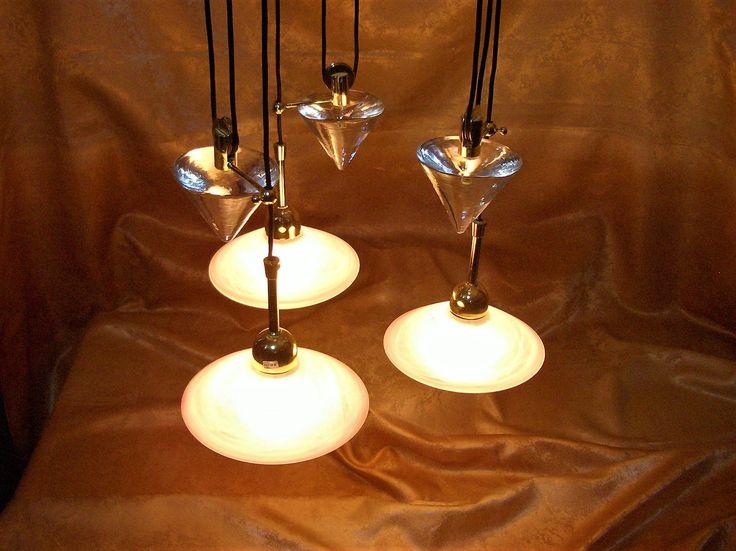 Art Deco modernist, Murano latticino chandelier, ceiling light, crystal counter weights, opaline shades, ultra vintage by AntiqueBoutiqueZ on Etsy