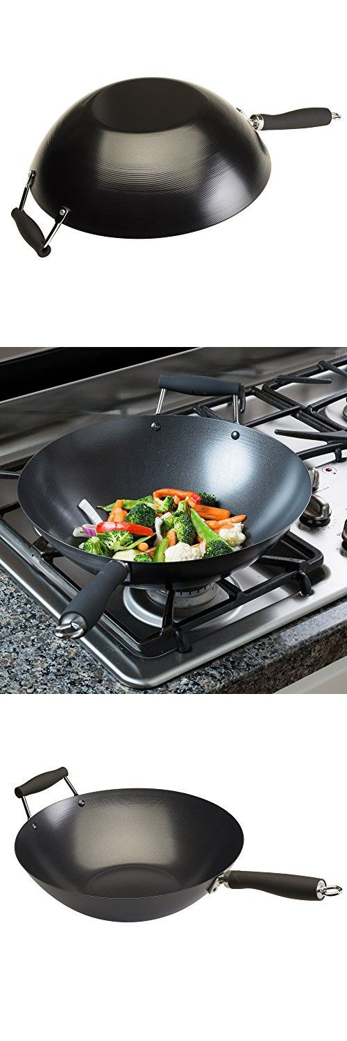 """Carbon Steel - Ecolution Non-Stick Carbon Steel Wok with Soft Touch Riveted Handles, 14"""",Black"""