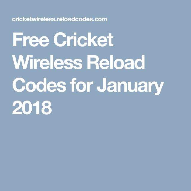 Free Cricket Wireless Reload Codes for January 2018