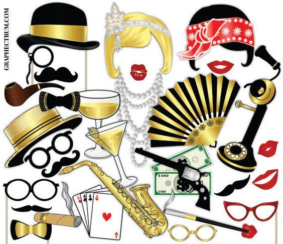 Great Gatsby Photo Booth Props Roaring 20s Party Props
