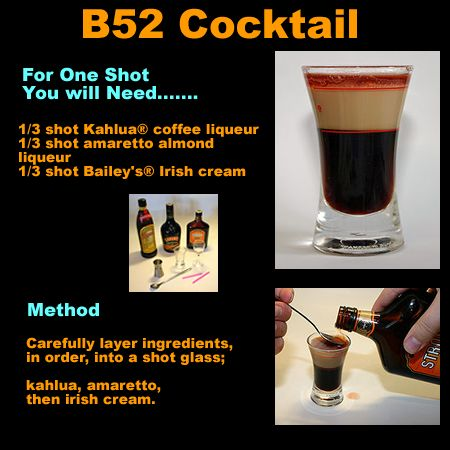 A B52 Cocktail is an old cocktail recipe. The B-52 is in ...