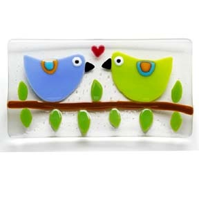 Fused glass dish - lovebirds