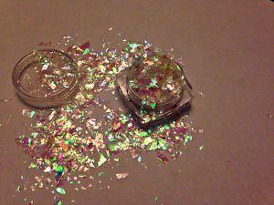 Irisierend-Weiss-Ice-Mylar-5g-oder-10g-Nagel-Kunst-Glitzer-Flocken