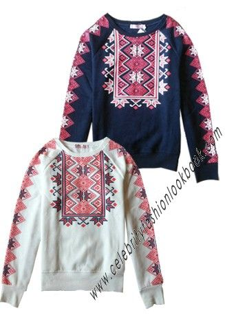 Aztec Print Sweatshirt (td77) US$36.99 available in white and navy #Sweatshirts - #Tops - #preppystyle http://celebrityfashionlookbook.com/clothing/tops/cotton-sweatshirts/td77-aztec-print-sweatshirt.html