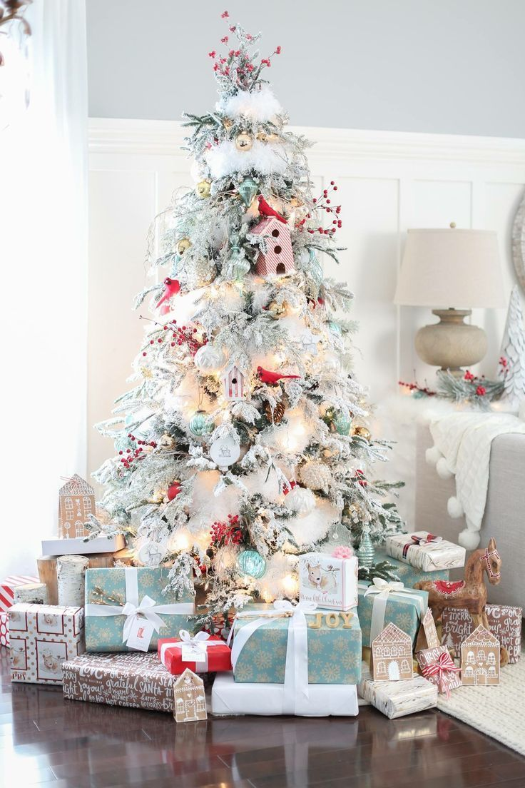 Flocked Christmas Tree Blue And Red Christmas Theme Christmas Tree Decorating Red Christmas Tree Christmas Tree Inspiration White Christmas Tree Decorations