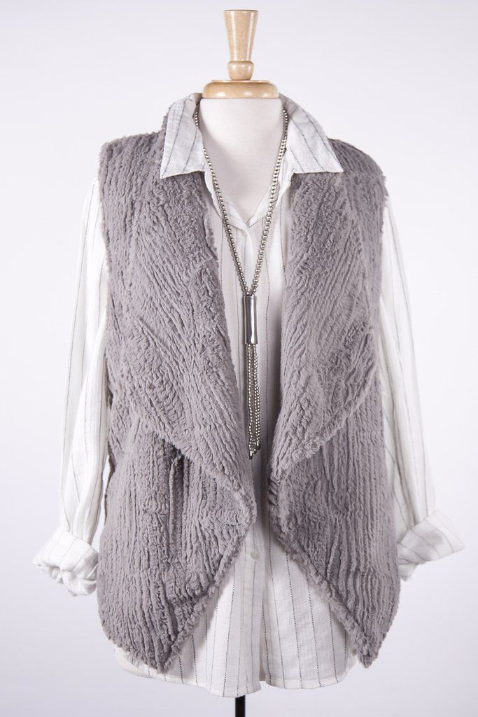 Dylan by True Grit Grey Texture Vintage Drape Vest | Women's fashion | Style | Clothing | Fashion | Boutique Clothing | Women's clothing | Boutique Style