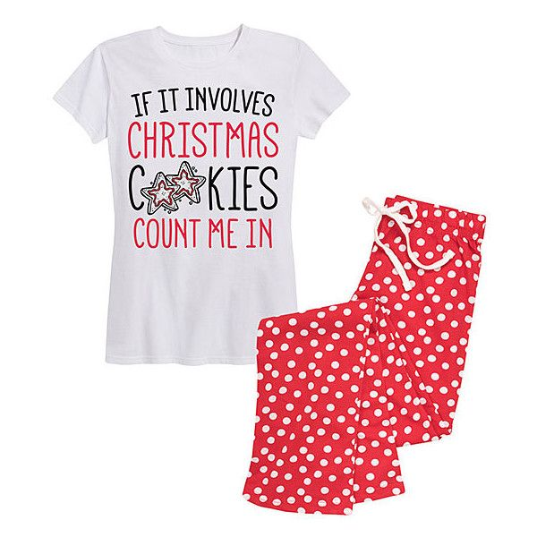 Frillies White & Red Dot 'If It Involves Christmas Cookies' Pajama Set (6.535 HUF) ❤ liked on Polyvore featuring intimates, sleepwear, pajamas, plus size, women's plus size christmas pajamas, womens plus size pajamas, women's plus size pajama sets, christmas pajamas and flannel pajamas