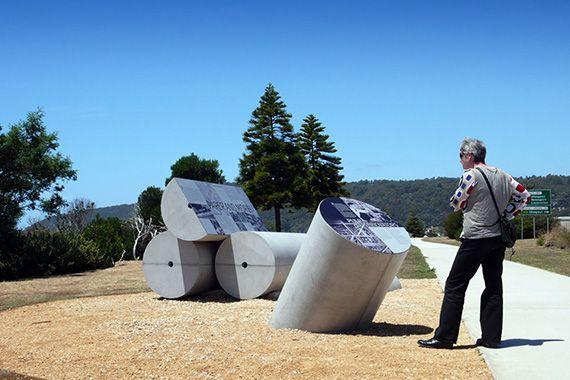 Outdoor information pylon sign at Pulp Paper trail, Burnie Foreshore, Tasmania, Australia
