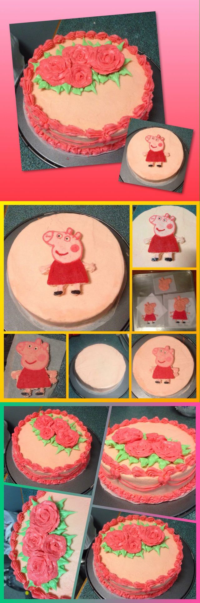 PEPPA PIG BUTTERCREAM TRANSFER & PIPED ROSES... So I wanted to try make a buttercream transfer so I printed a picture and stuck it under a piece of baking paper on a flat surface. (1) Whipped up a batch of buttercream frosting and made into colours needed then into ziplock bags. (2) started off by piping the outline of the face. Placed in freezer to harden slightly for 5mins. Then the red dress online and face features. Back in the freezer for another 5mins. Then the hands and filled in the…