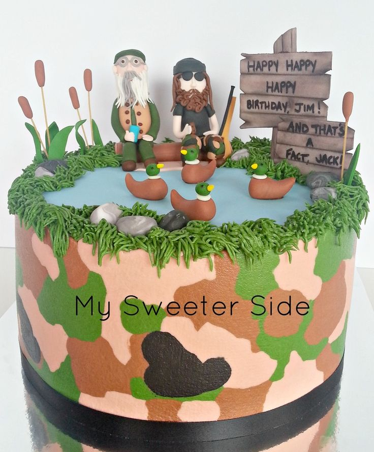Made Another Buttecream Camo Duck Dynasty Cake However This Time I Added A Fondant Jase Robertson Thanks For Looking