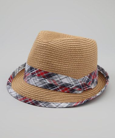Another great find on #zulily! Tan & Cherry Plaid Woven Fedora #zulilyfinds