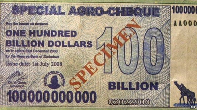 A 100 billion Zimbabwean dollar note
