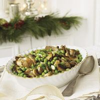 Braised Wild Mushrooms and Peas Recipe -- An effortlessly elegant side that only tastes extravagant.  #myplate #vegetables
