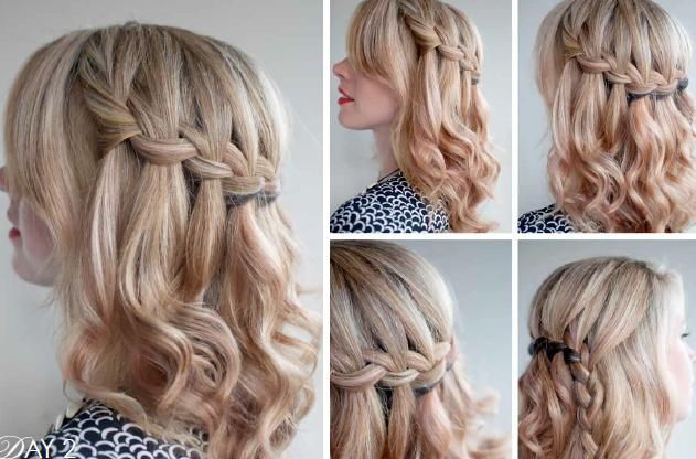 URSULA - Idea 2 - Loosley waved with the heated wand with a waterfall braid.