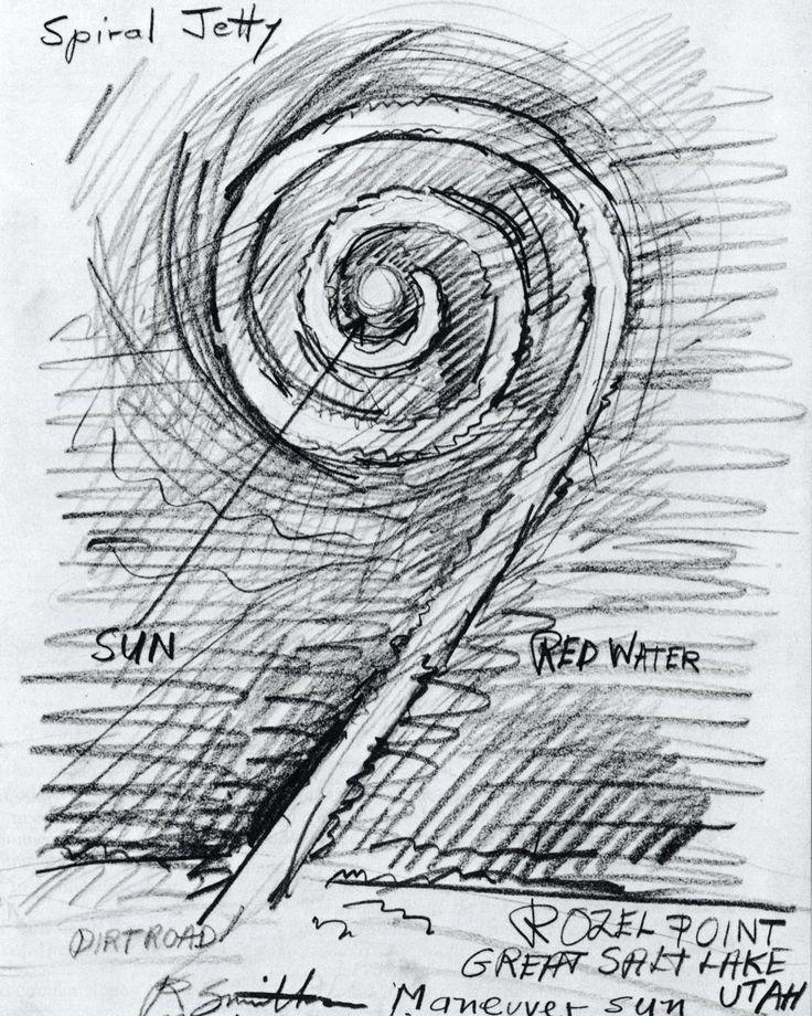 Robert Smithson Spiral Jetty 1970 (Great Salt Lake Utah)   #SpiralJetty est une des plus grande et importante oeuvre de #LandArt de l'histoire de l'art. Cette pièce en est d'ailleurs le chef d'œuvre. Le Land Art est une forme d'art créer dans la nature en dehors du musée. Elle naît aux États Unis après l'art conceptuel et le minimalisme qui en sont les bases conceptuelles. De nombreux artistes de Land art viennent de l'art conceptuel. Ce qui fait oeuvre ici dans cette forme c'est la volonté…