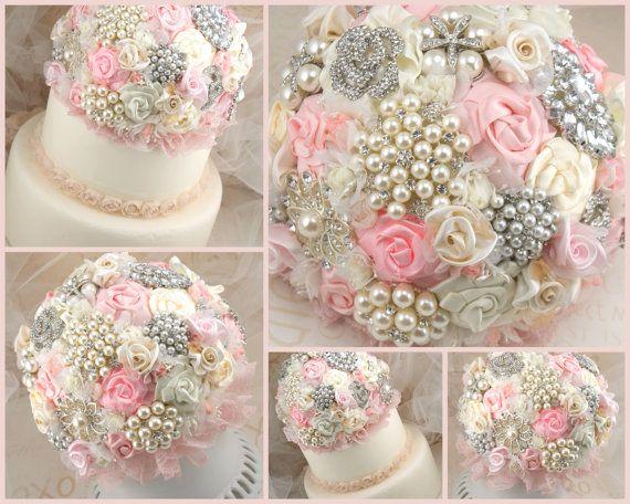 Cake Topper Jeweled Brooch Wedding Topper in Cream by SolBijou