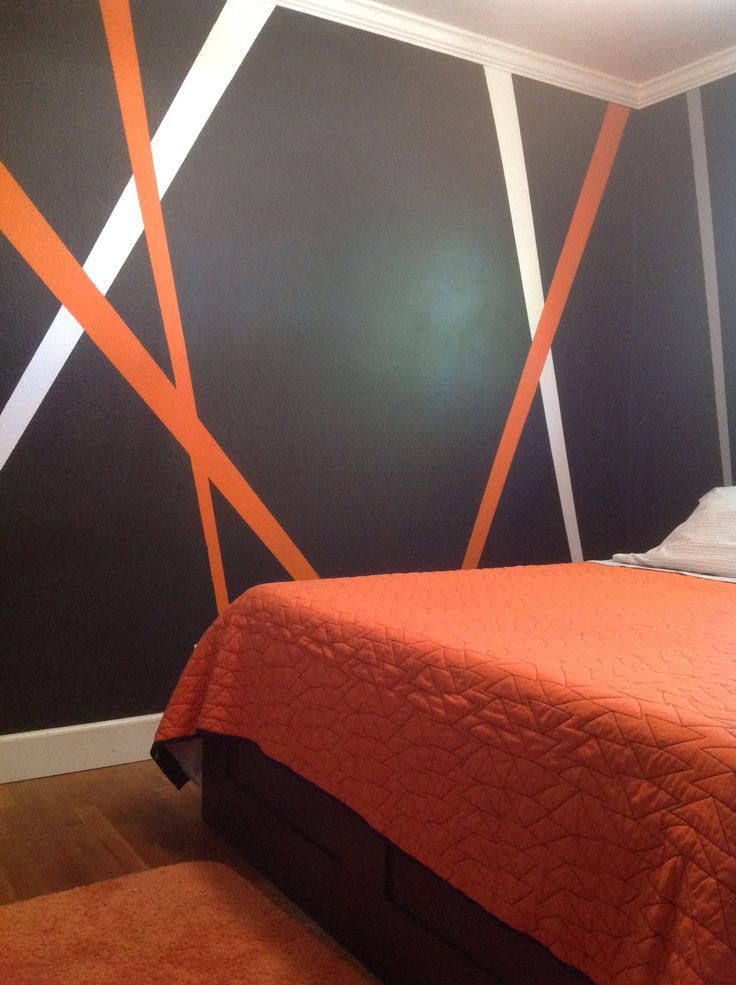 Grey, orange, white my new teenage boy bedroom decor                                                                                                                                                      More