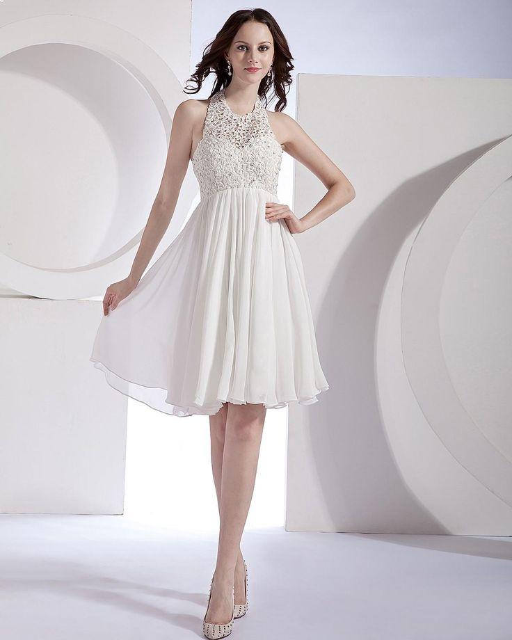 Hollow-out Chiffon Lace Halter Mini Wedding Dress