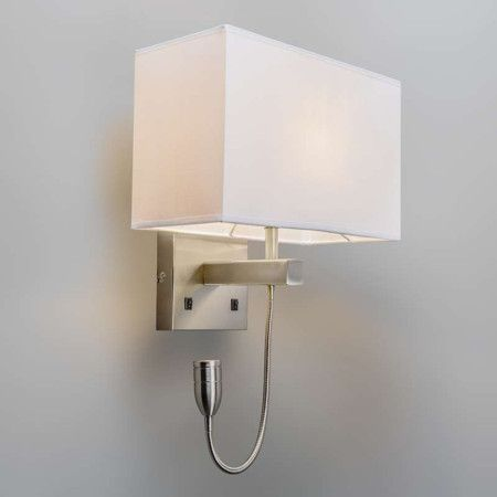 Wall lamp Bergamo steel with cream white shade - Wall lights - Indoor lighting - lampandlight.co.uk