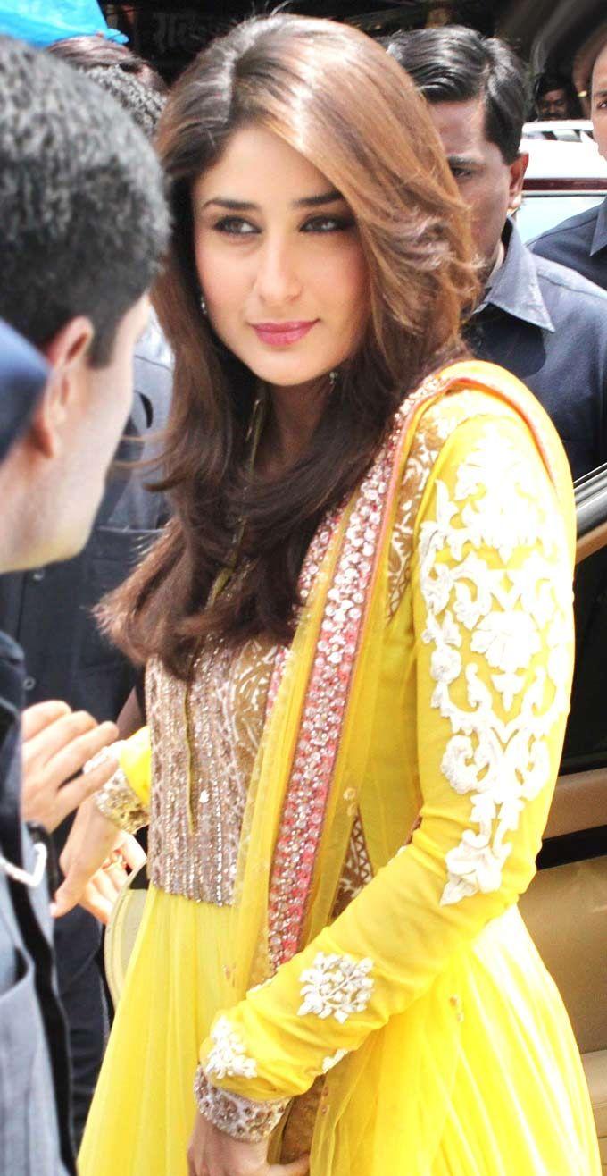 Beautiful yellow Anarkali. ..Kareena Kapoor. ..Bollywood style