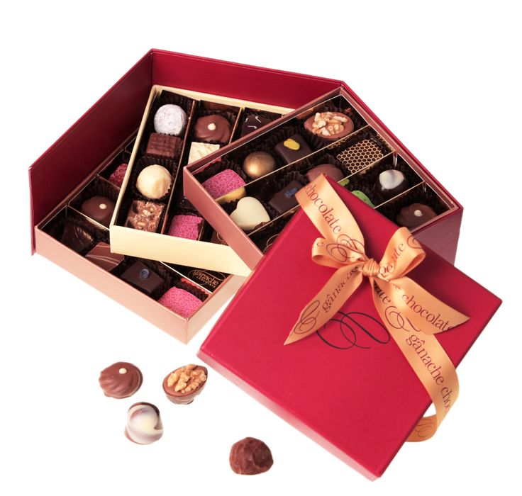 A classic three tier gift box filled with 48 of our finest handmade chocolates including delicious ganaches, soft caramels, hazelnut pralines and delightful marzipans.  $95  http://www.ganache.com.au/chocolate-boxes/deluxe-box-3-tier-48-pralines-en.html