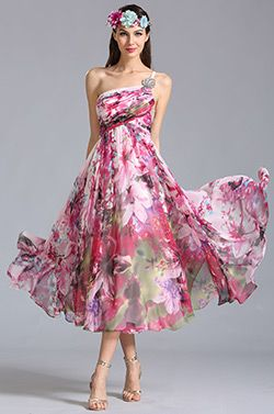 One Shoulder Tea Length Printed Dress Party Dress --- The print and the floaty skirt are a dream!
