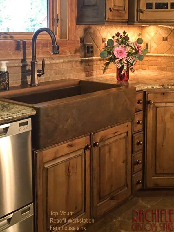 Retrofit Top Mount Drop In Farmhouse Copper Sink Madeinusa