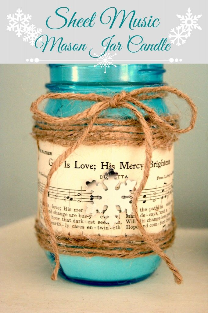 DIY Sheet Music Mason Jar Candle - Nest of Bliss