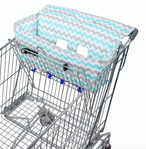 Aqua Chevron Shopping Trolley Liner - Bambella Designs