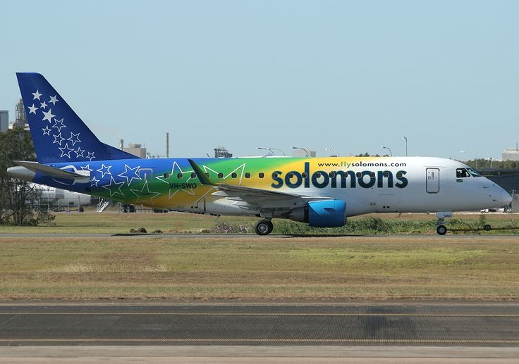 aircraft promotion livery | Sky Air World E170 VH-SWO on lease to Solomon Airlines