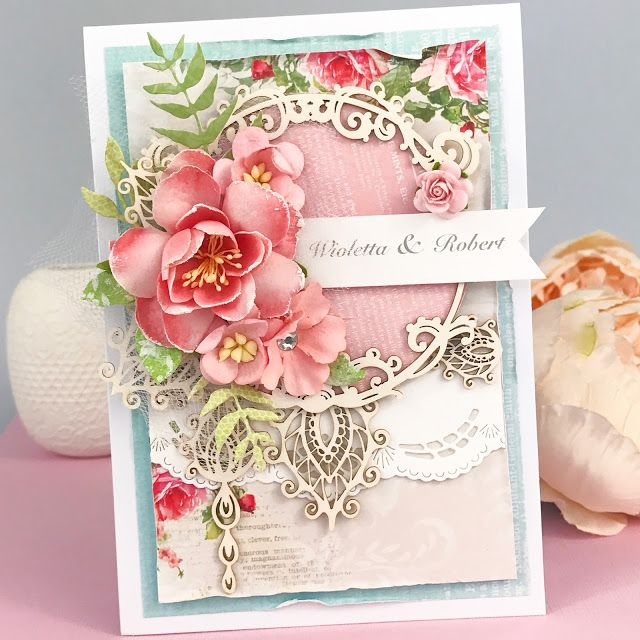 Elegant card from Lemoncraft papers, Prima Marketing flowers ans Scrapiniec chipboards. cardmaking, multilayered, scrapbooking